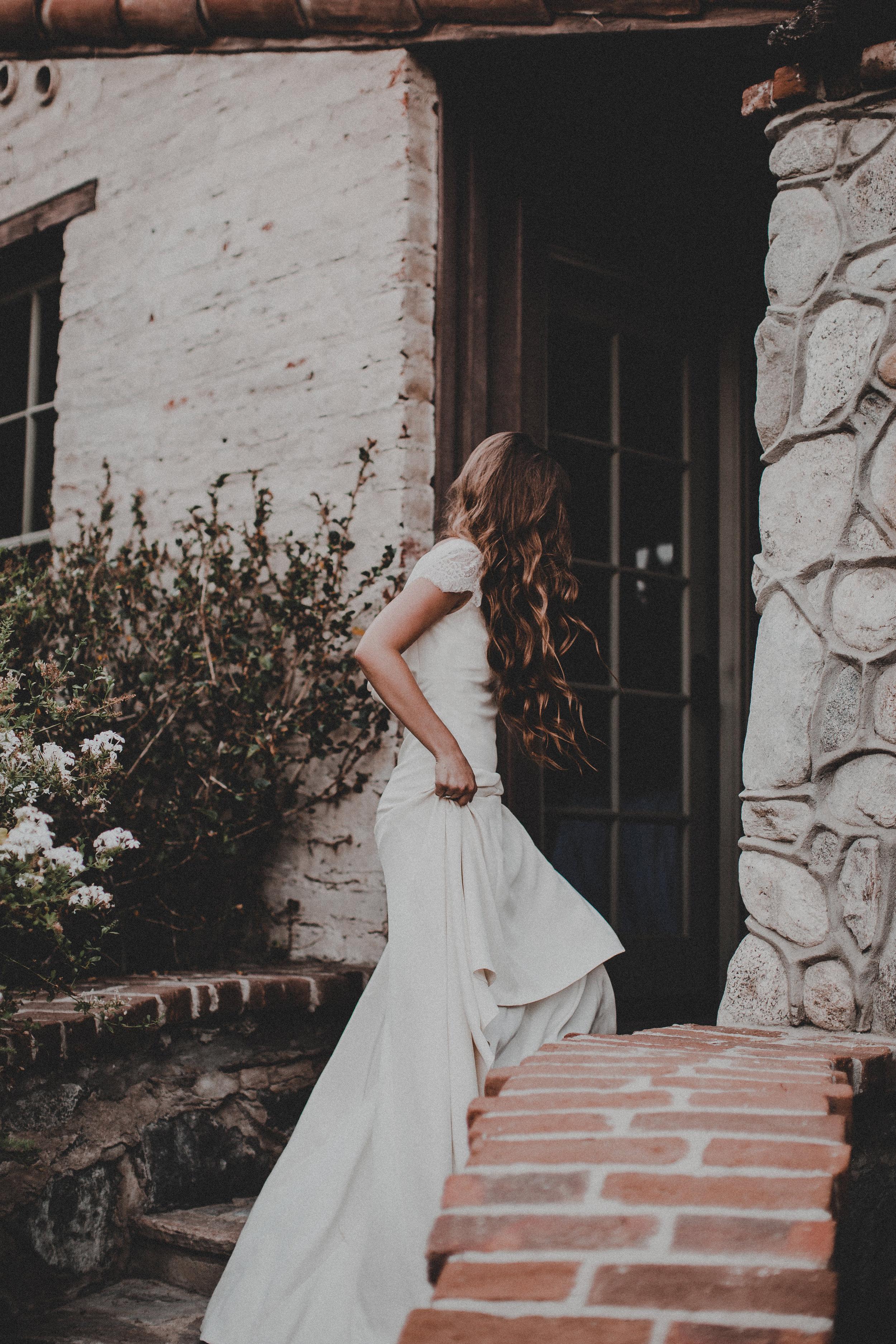 Patricia by Chantel Lauren crepe wedding gown lace cap sleeve modern boho bride