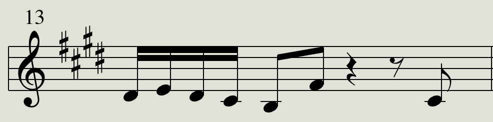 SLIDE: Sixteenth notes followed by ascending 5th and then silence.