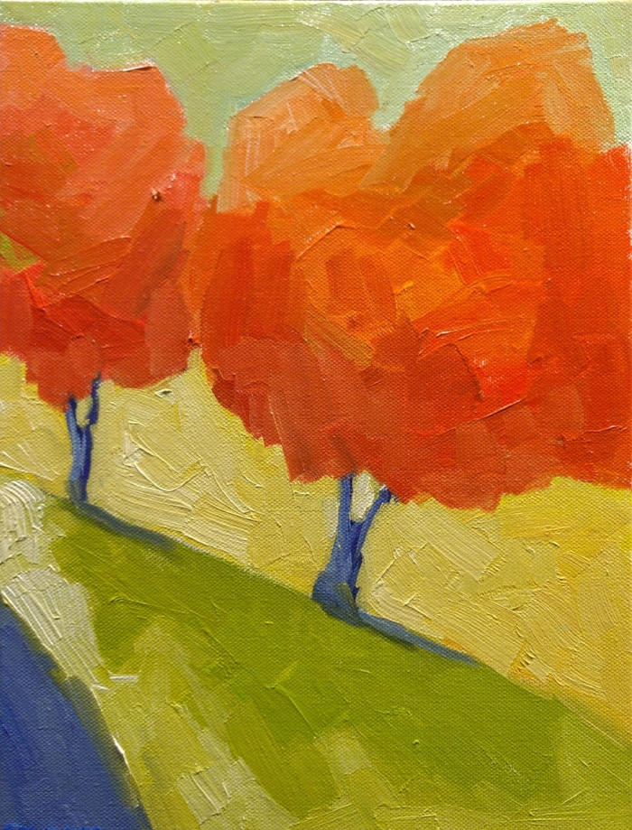 Two Red Trees - 12x9 - $340