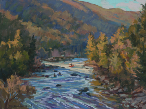 Navigating the Maury River through Goshen Pass 12x16 Pastel Maria Reardon.jpg