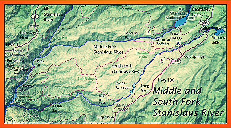 Stanislaus map Fly fishing