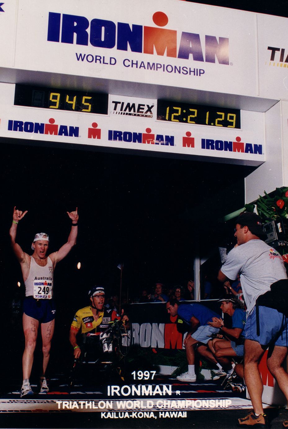 Hawaiian Ironman 1997 finish - first wheelchair athlete to complete the course within conventional cut- off times