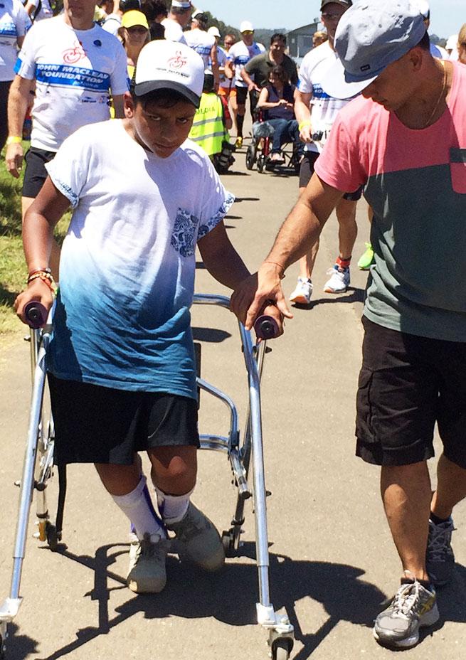 My mate Aaryan walking the last 100 meters with me
