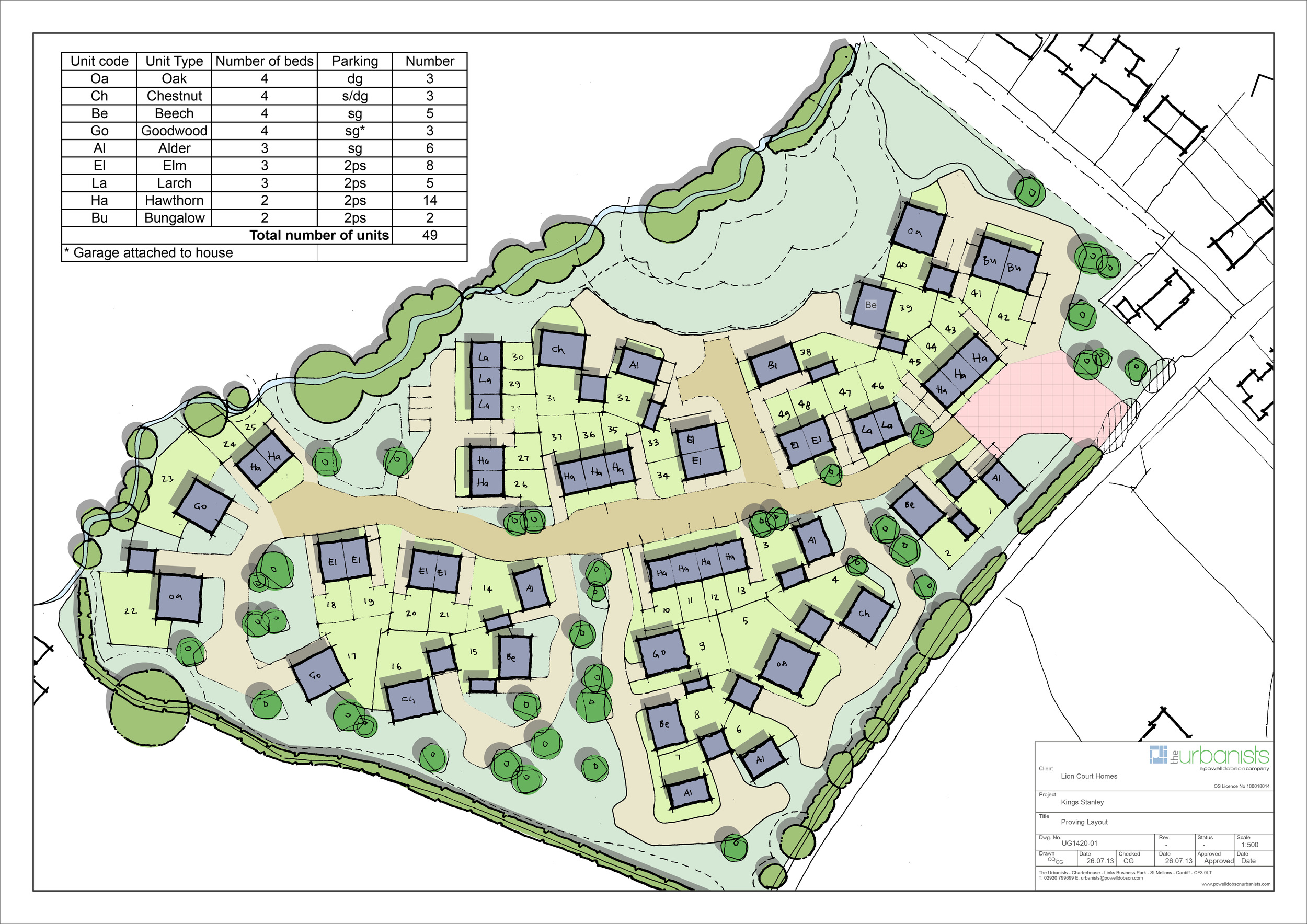 Masterplan for 49 homes in Gloucestershire