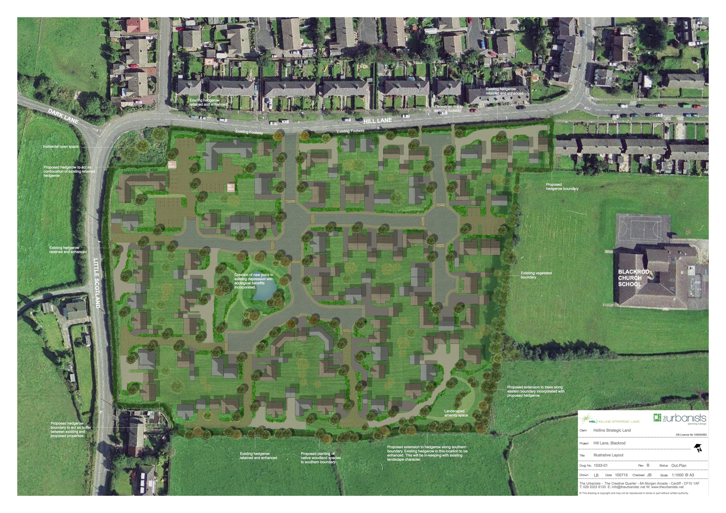 Proposed development of up to 110 dwellings on an edge of settlement site