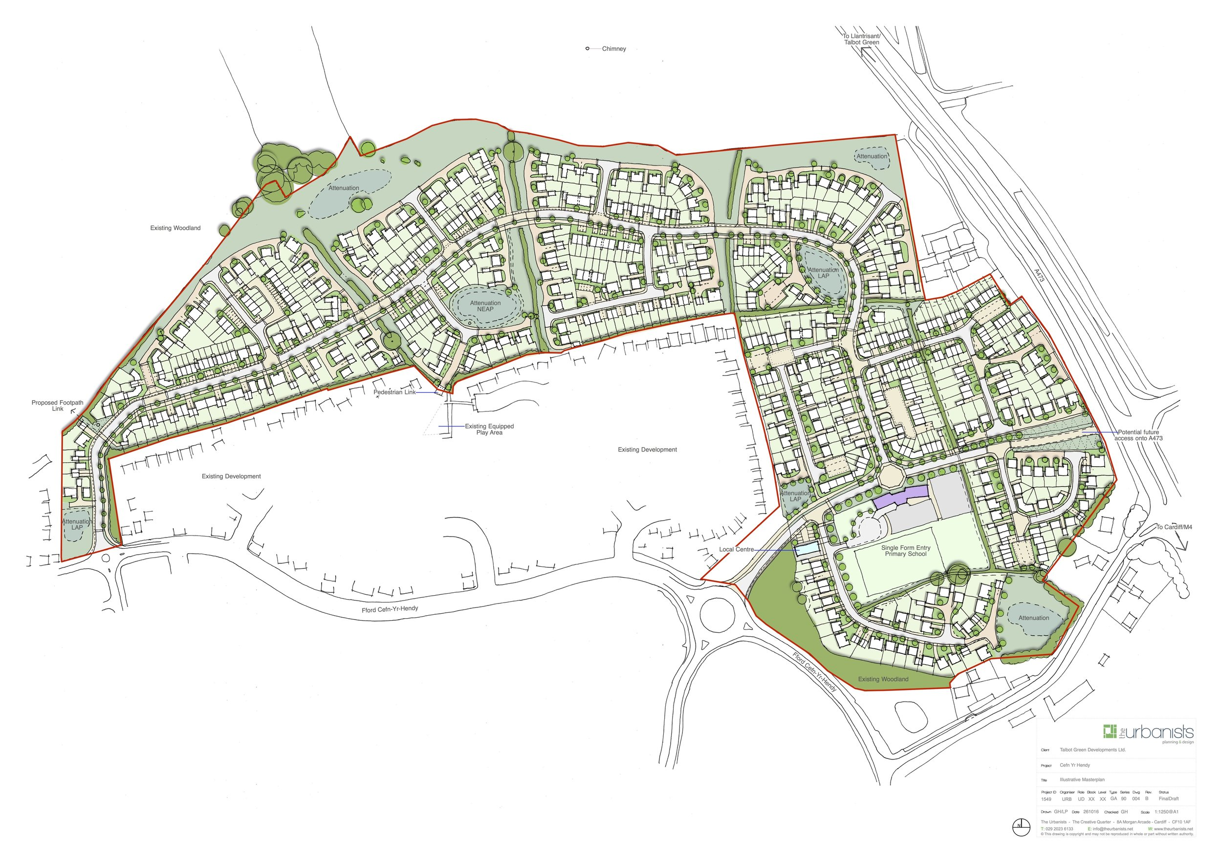 Illustrative masterplan for 460 dwellings and new open space