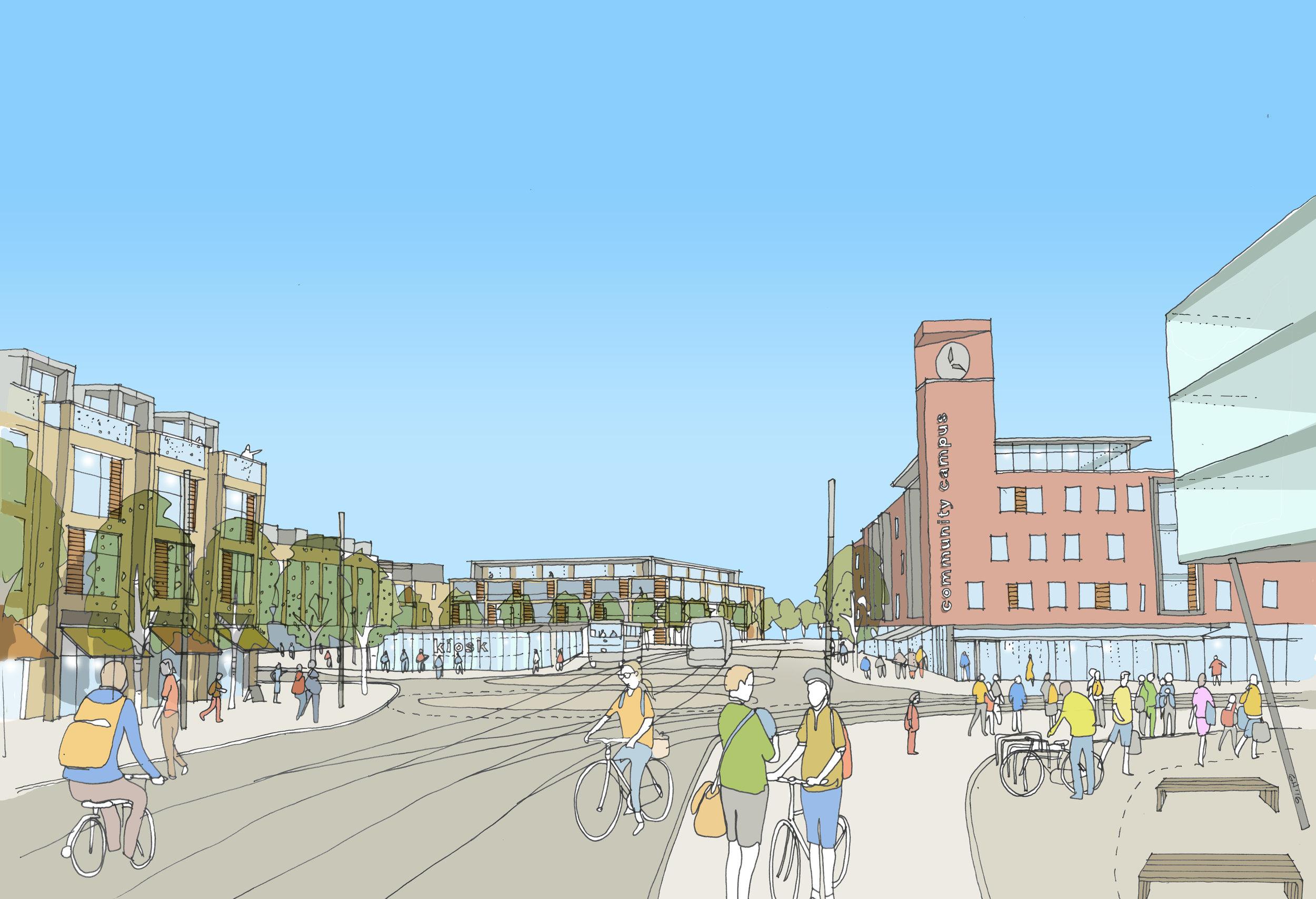 Plasdŵr District Centre - Artist's Impression