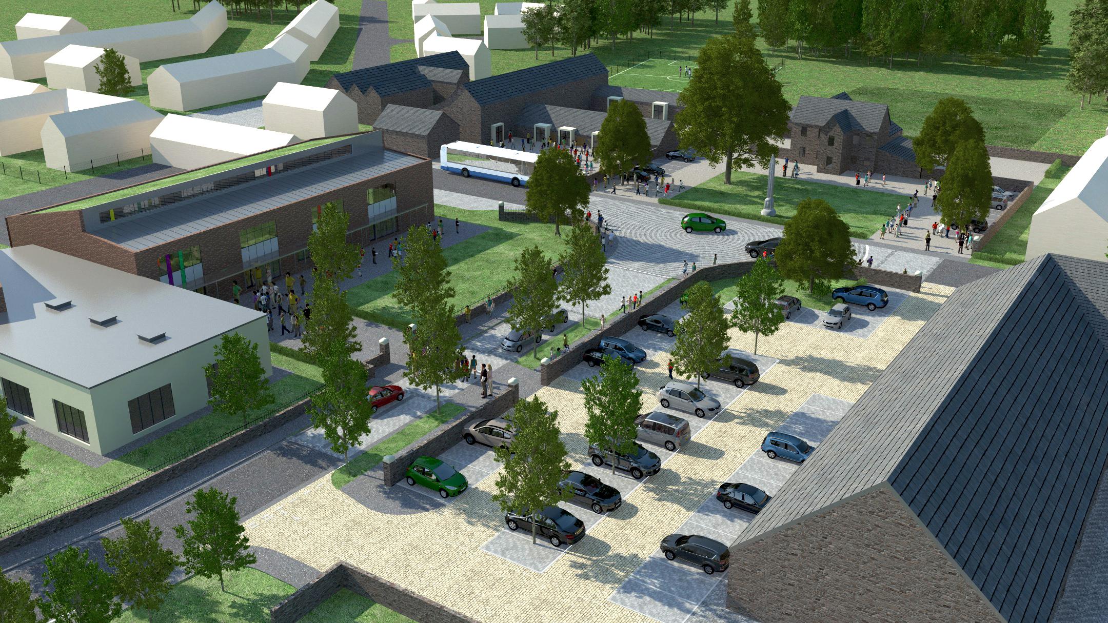 Aerial CGI of Pentrebane Farm local centre