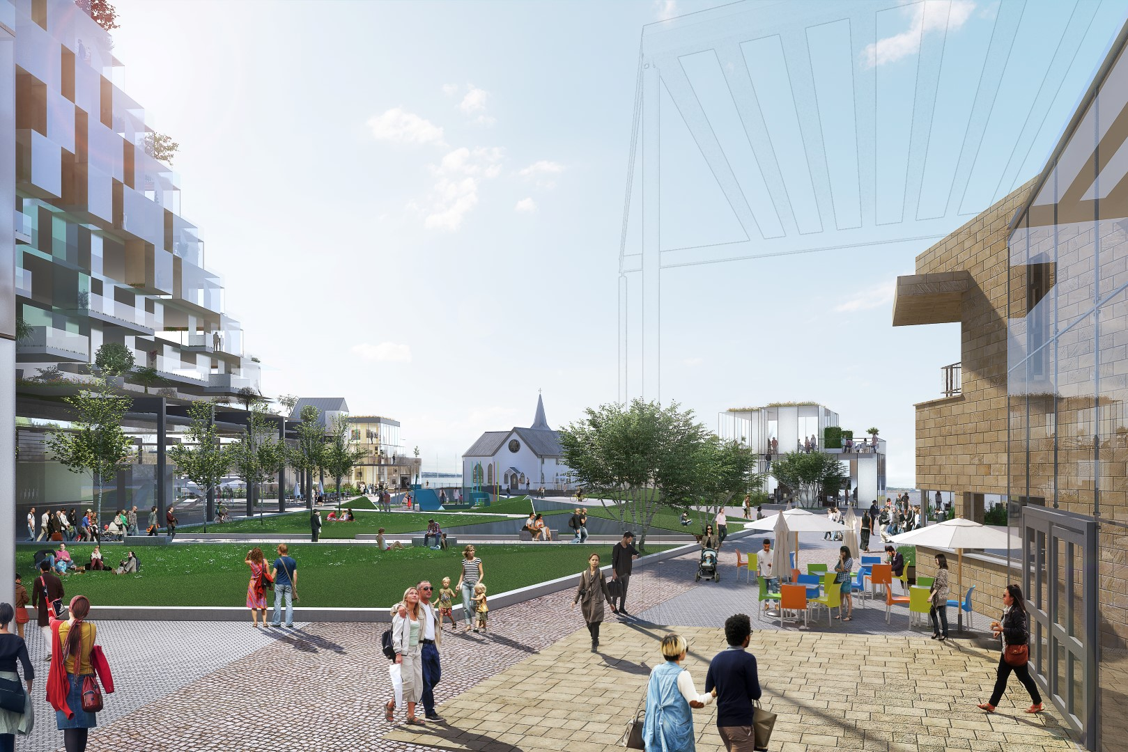 CGI (prepared by Chetwoods Architects) of the landscape design concept