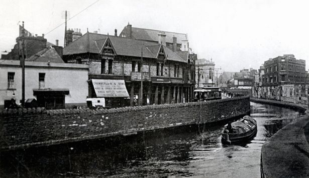 The former canal on Mill Lane (Source: Cardiff Central Library Local Studies Collection/Cardiff Story Museum)