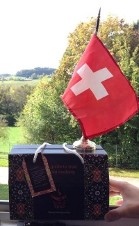 Switzerland flag over our curry kit