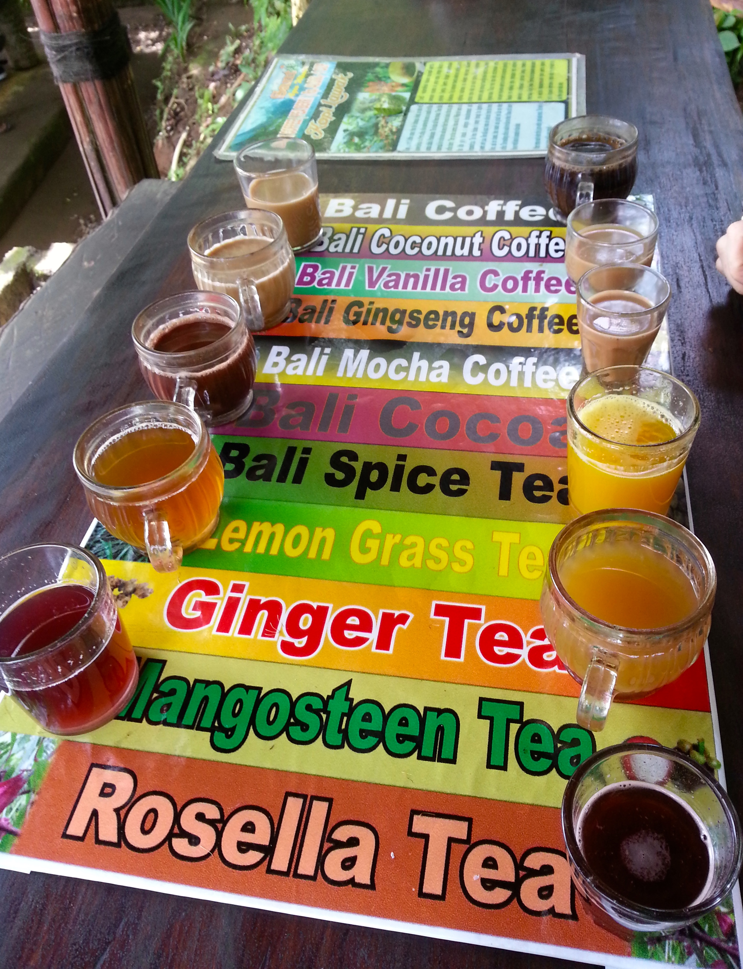 The many delicious teas and coffee we got to sample