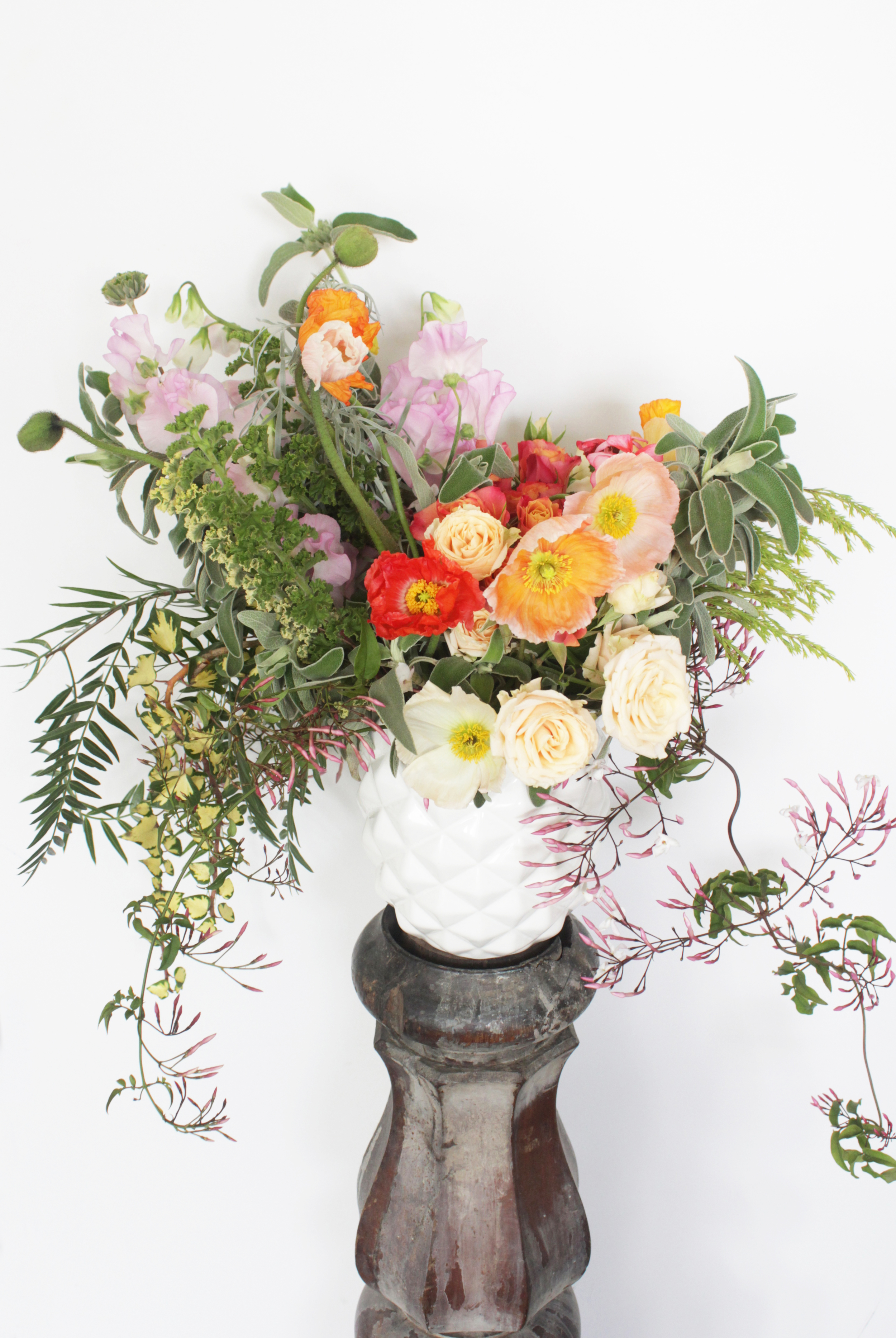 Peach vase arrangement