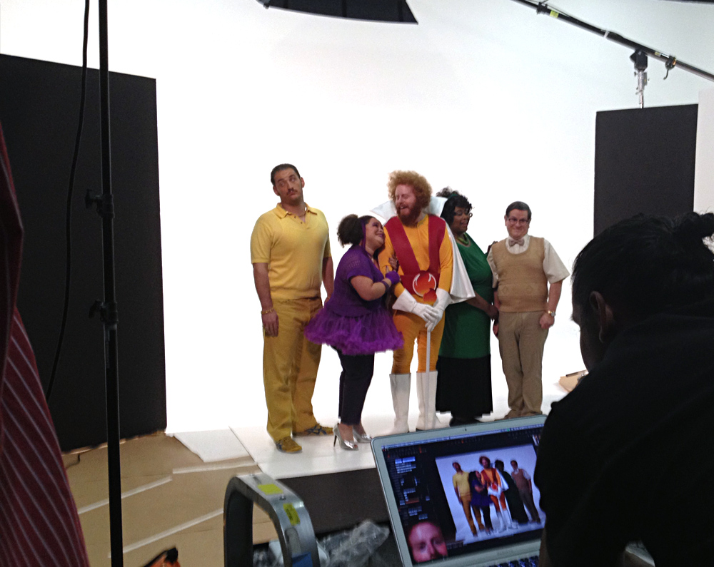 """Pick 3/Pick 4 – Behind the scenes photos. There's something about directing the guy who played Officer Sweetchuck in Police Academy and an SNL alum I found fun. These guys were a blast. At one point in the shoot, the cast and the client started singing songs from """"hairspray."""""""