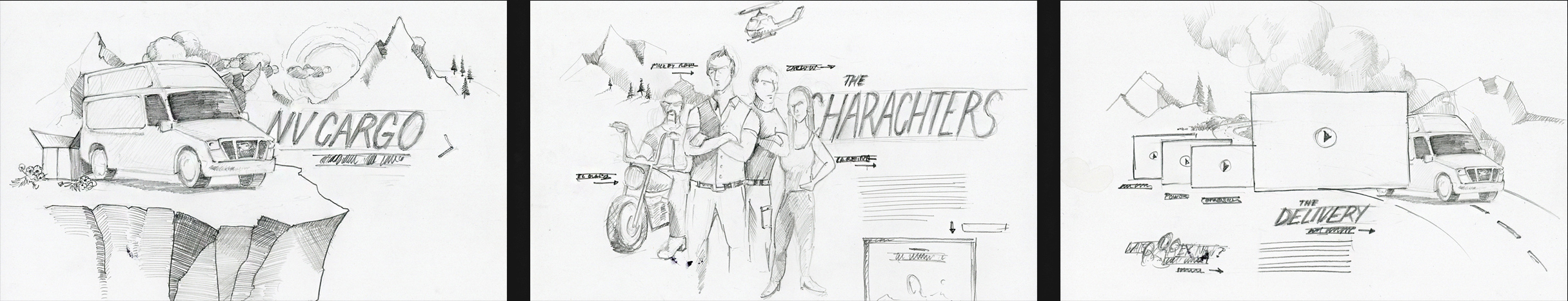 Landing page concept sketches