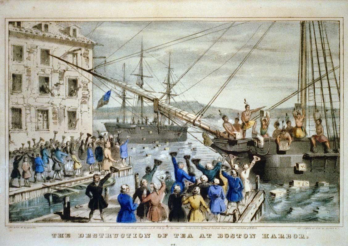 """Boston Tea Party. """"Bu kadar az vergi mi olur"""" diyenvatandaşlar, vergi oranı sıfıra düşençaylarını protesto amacıyla denize döküyorlar"""