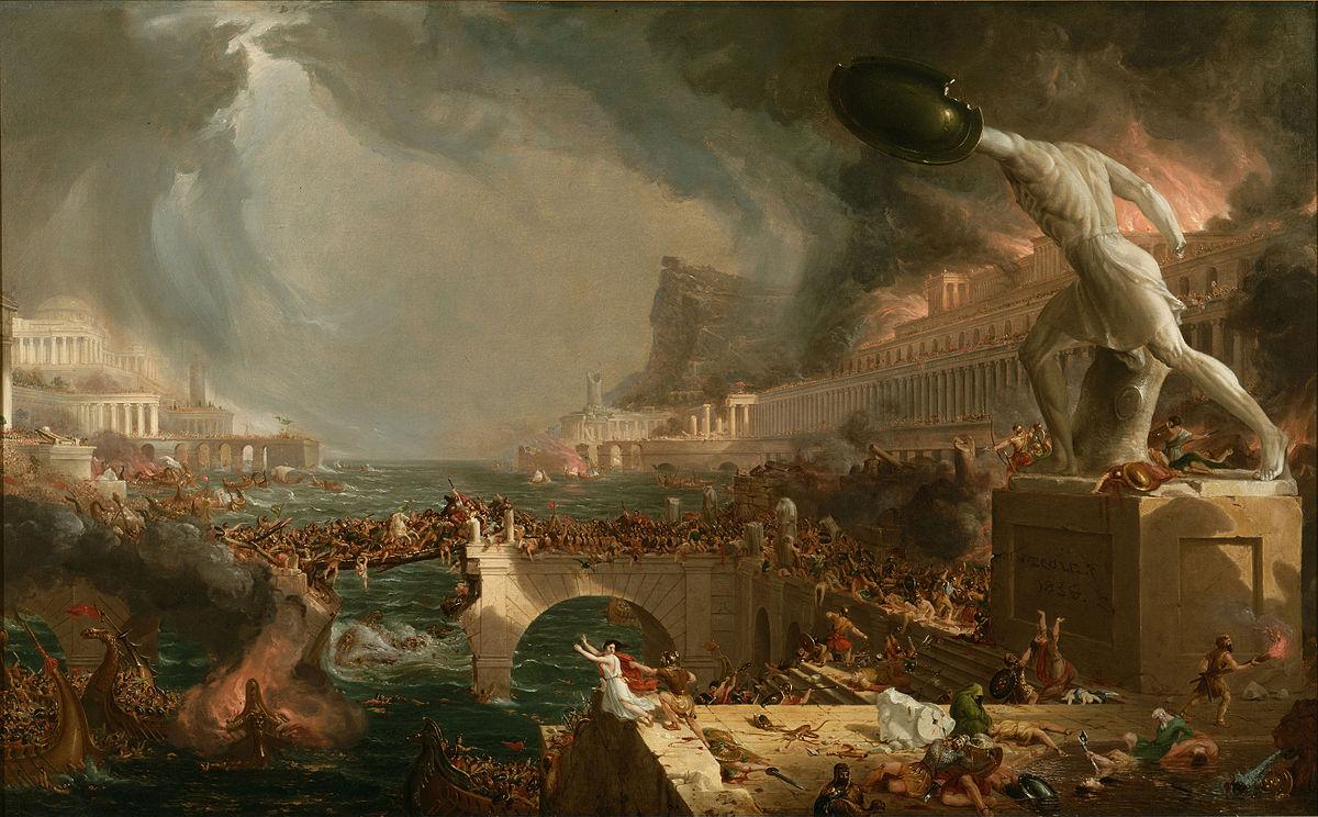 """Thomas Cole'un """"The Course of Empire"""" serisinin 4.'sü""""Destruction"""" (1836).Roma'yı yağmalayan Vandallara telif ödemiştir diye umuyorum"""