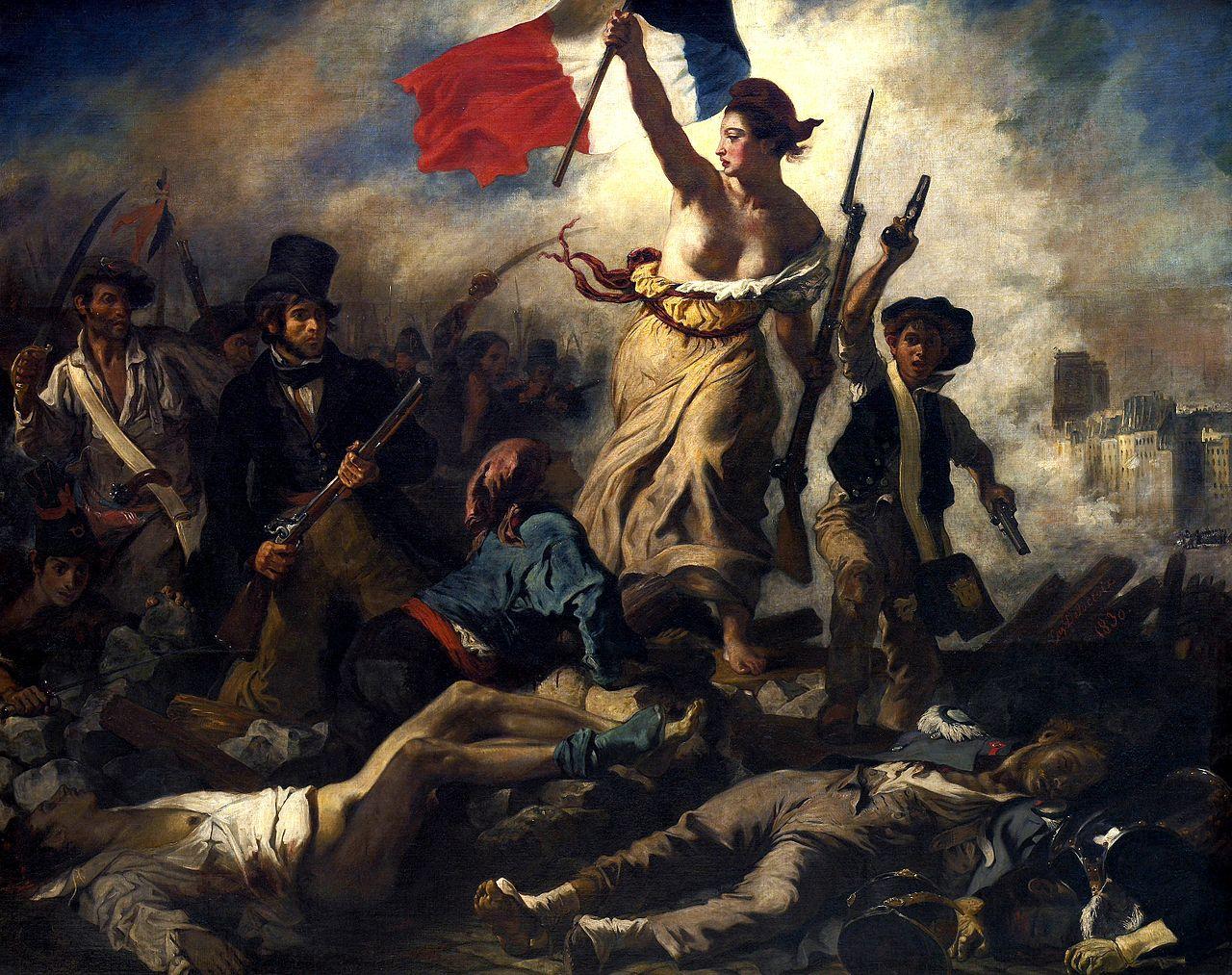 Romantik milliyetçilik:Fransız İhtilalinde, Lady Liberty halka önderlik ediyor.