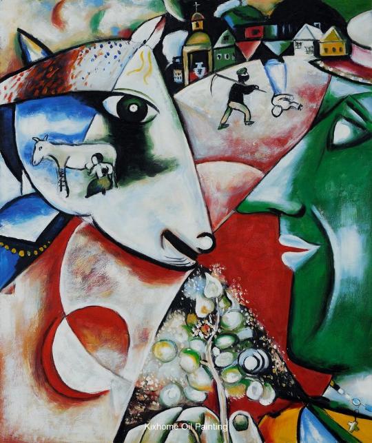 Kötütemeller üzerinde yükseltebildiğim eğri büğrübinalardan biri Chagall. I and the Village.