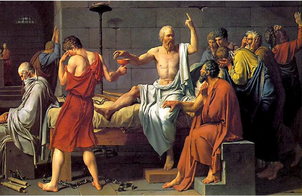 Socrates zehri içerken arkadaşları ağlıyor. Odada kadın yok bu arada. Kimsenin ölüm döşeği böyle bir sosis partisine dönmez inşallah.