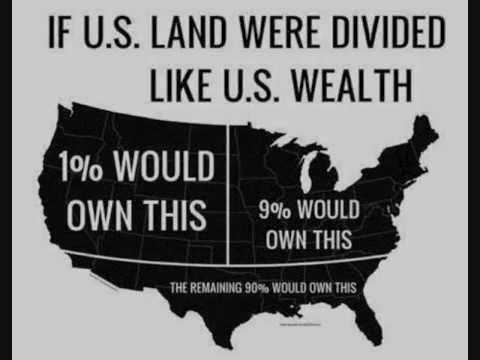 Eğer ABD'nin toprağızenginliğe oranlıdağıtılırsa, ezici çoğunluğu tepedeki %10'a gidiyor. Resimde görmek zor, ama güneydeki ufacık nokta, en alttaki %40'ın toprağı. Zira onmilyonlarca insan gayrımenkul sahibi olmayıp borç içinde yaşadığından, toplam zenginlikleri negatif.