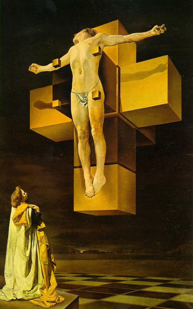"""Corpus Hypercubus . Dali, İsa'yı bir tahta parçasına asmak yerine, dört boyutlu bir hiperkübe, yani bir """"tesseract""""e geriyor. Dört boyutu nasıl resmetmiş? Tesseract'i bir haç şeklinde açarak tabii (üç boyutlu bir kübü, birbirine bağlı altı tane kare şeklinde açtığınızı düşünün  ). Adam dahi, yapacak bir şey yok."""