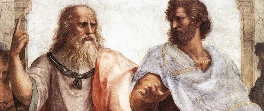 """Raphael'in tablosunda, ihtiyar Platon """"yükselelim hacı"""" işareti yaparken, öğrencisi Aristo """"sakin, etraf sivil kaynıyor""""diyor."""