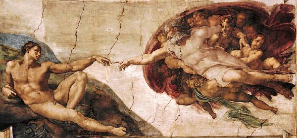 """The Creation of Adam . Niye Tanrı'nın kıyafeti var da biz çıplağız? """"Biz"""" derken erkekler tabii, kadın ikinci sınıf yaratık olduğundan daha ortada yok."""