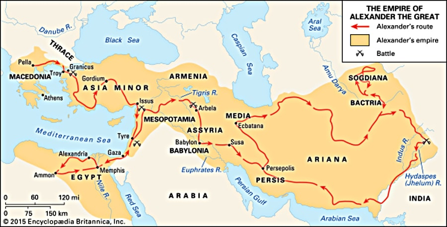 Büyük İskender'in fetih rotası. Yunan şehir devletlerini doğrudan fethetmek yerine etkisi altına alıyor ve asıl dikkatini Anadolu üzerinden doğuya veriyor. O çağda hastalanıp ölmeden şu kadar seyahat etmek de büyük başarı.