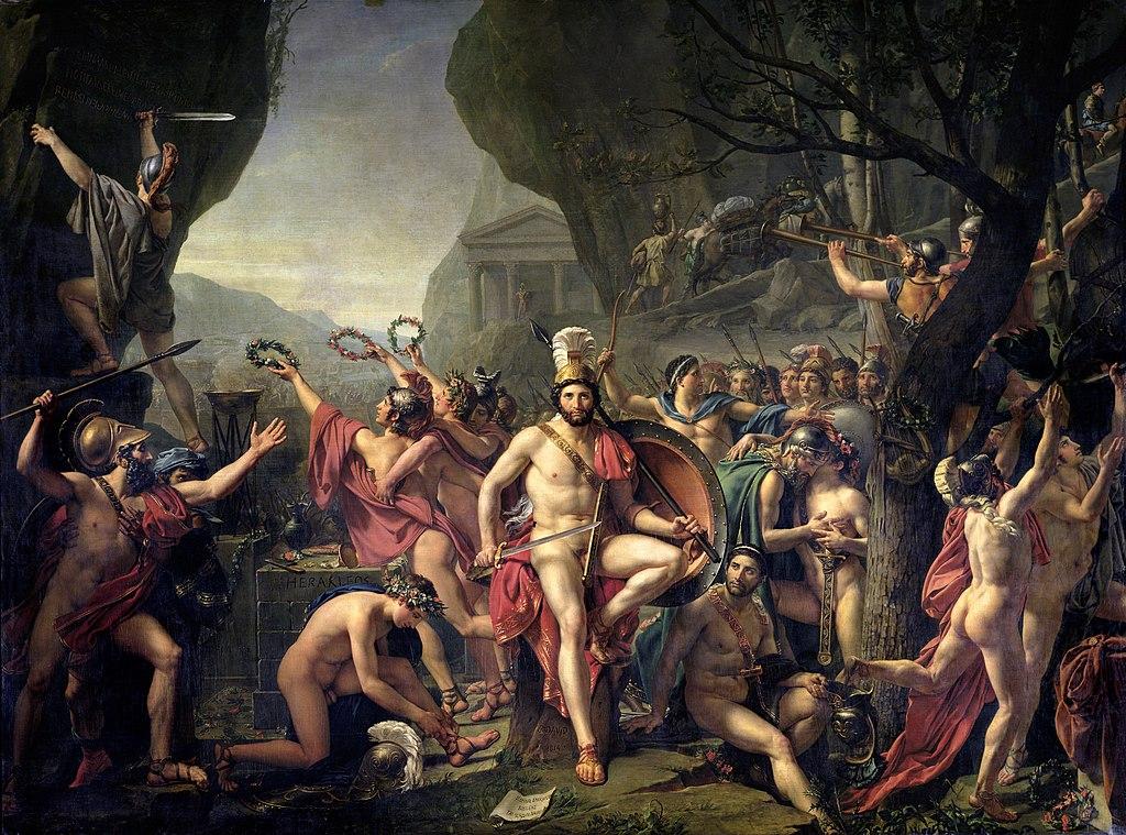"""""""Leónidas en las Termópilas"""". Jacques-Louis David, 1814. Çıplak mı savaşıyorlardı bilmiyorum ama Spartalı erkeklerin spor yaparken soyundukları ve çıplak vücutlarından gurur duymaları gerektiği bir gerçek."""