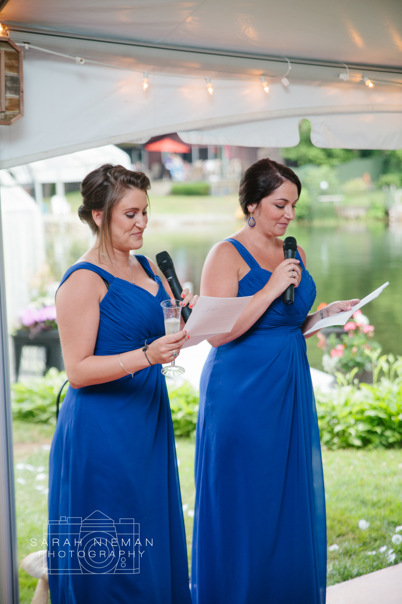 The maid and matron of honor were so adorable with their joint speech!