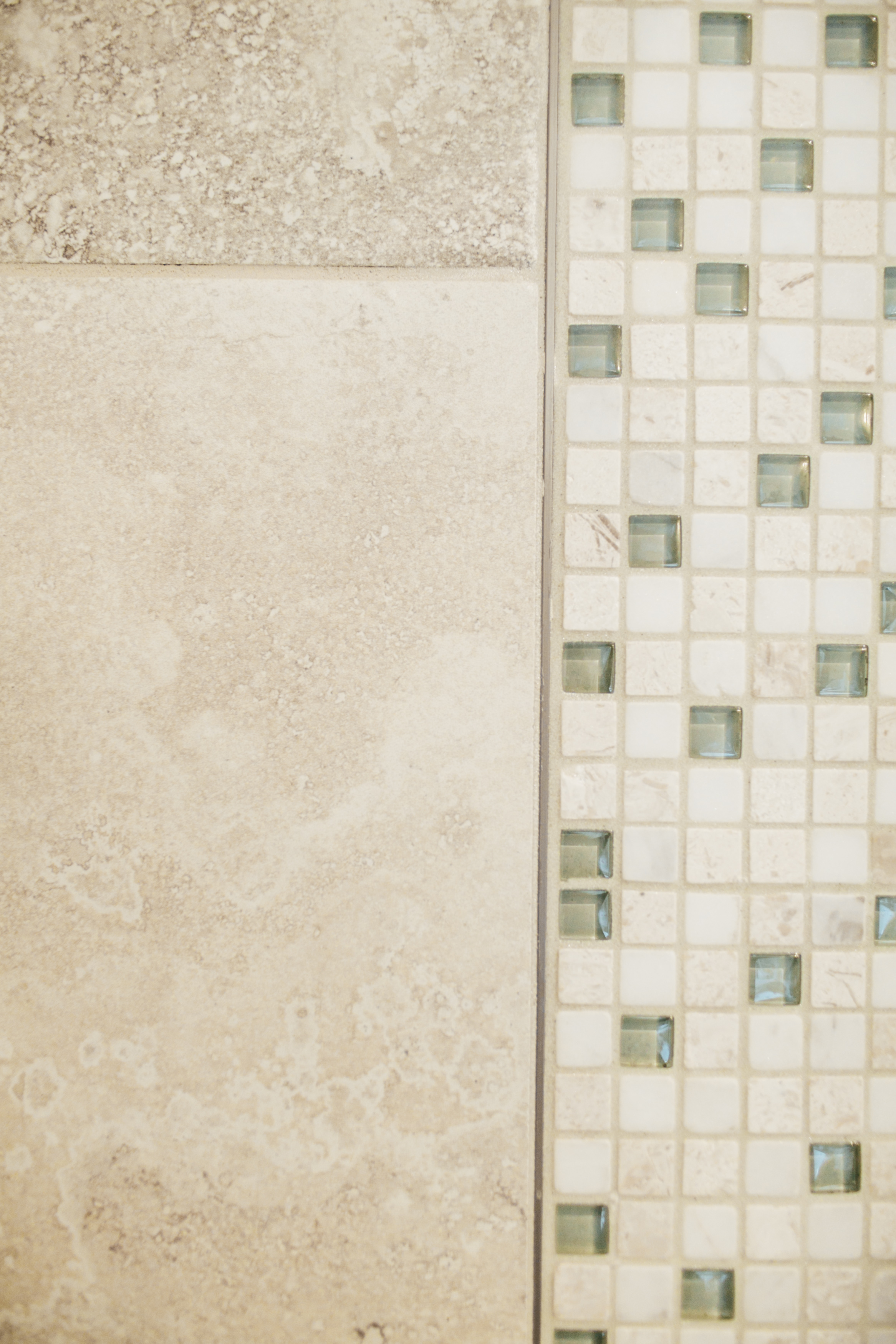 Schluter Rail Detail with Marble Mosaic