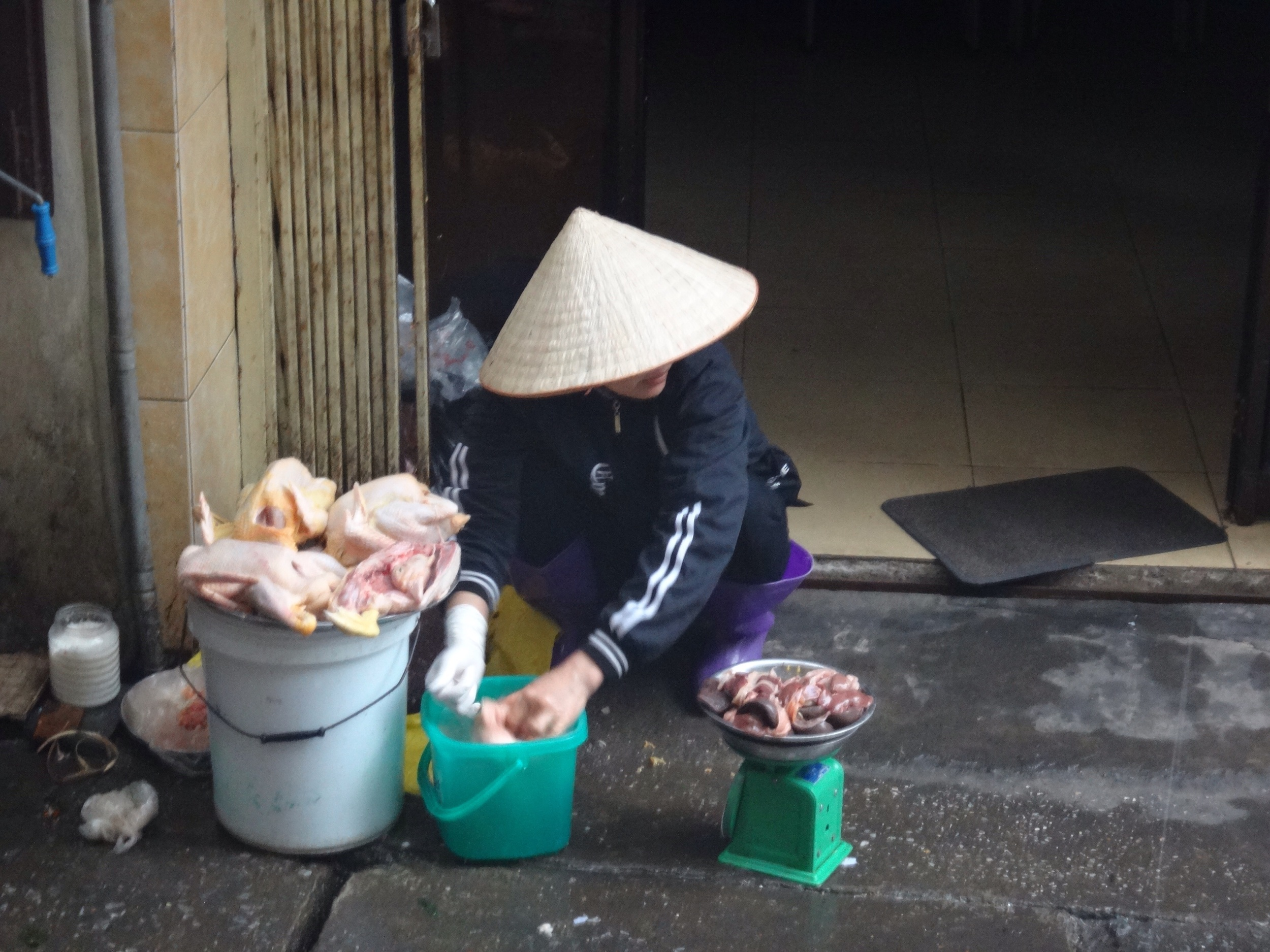 Preparing chicken for the day's market.