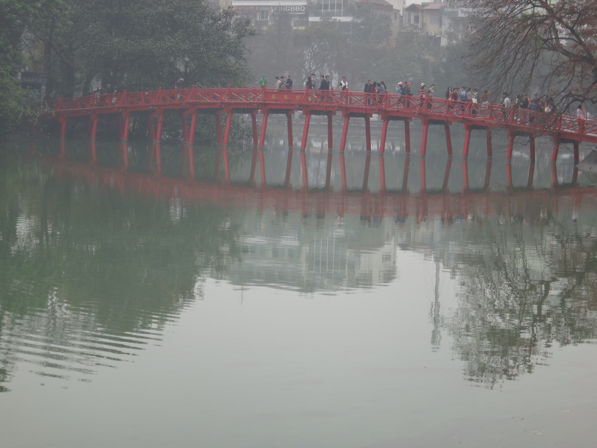 Rising Sun Bridge leading to Ngoc Son Temple, built in the 18th century.
