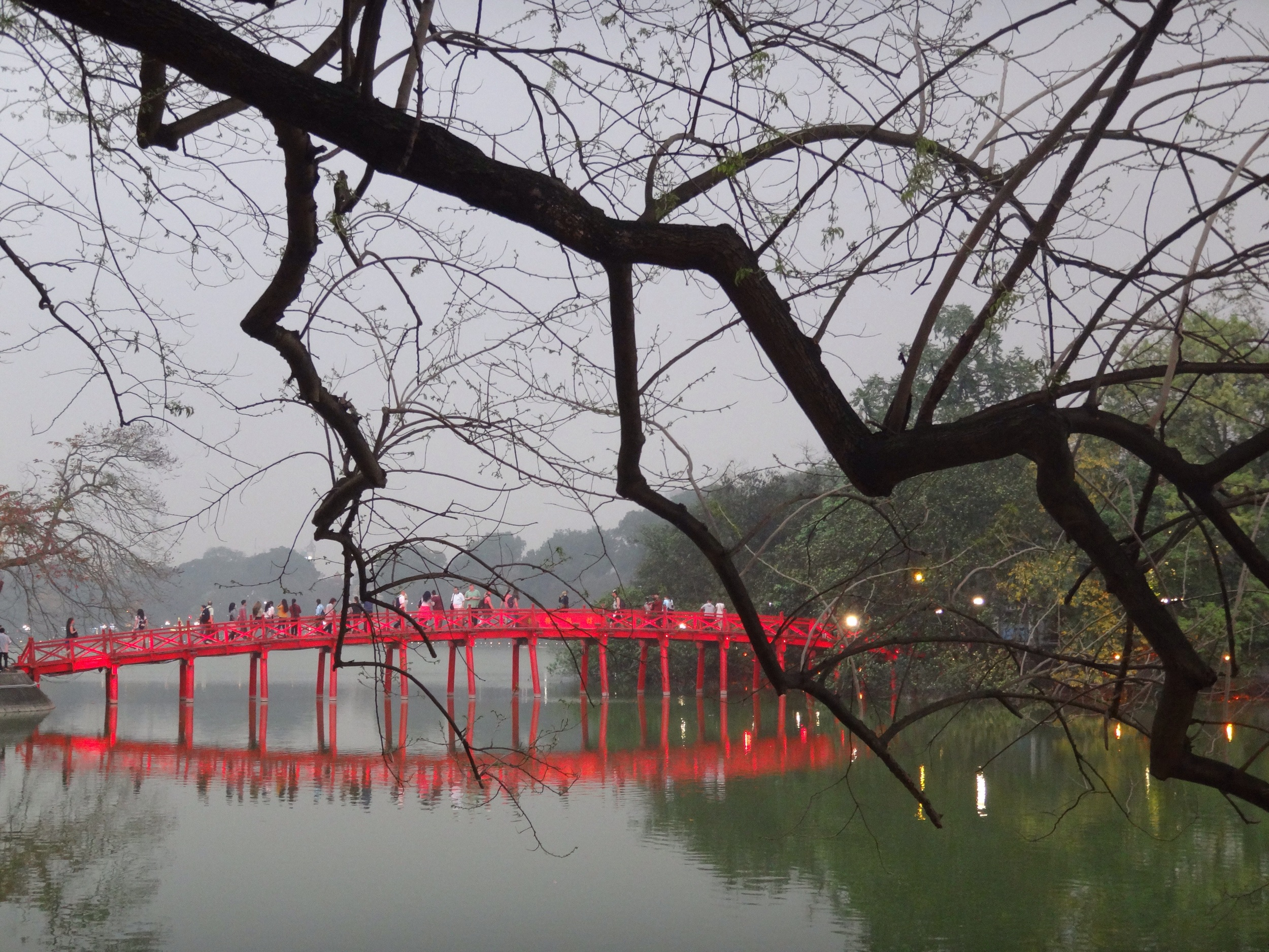 Rising Sun Bridge at Hoan Kiem Lake.
