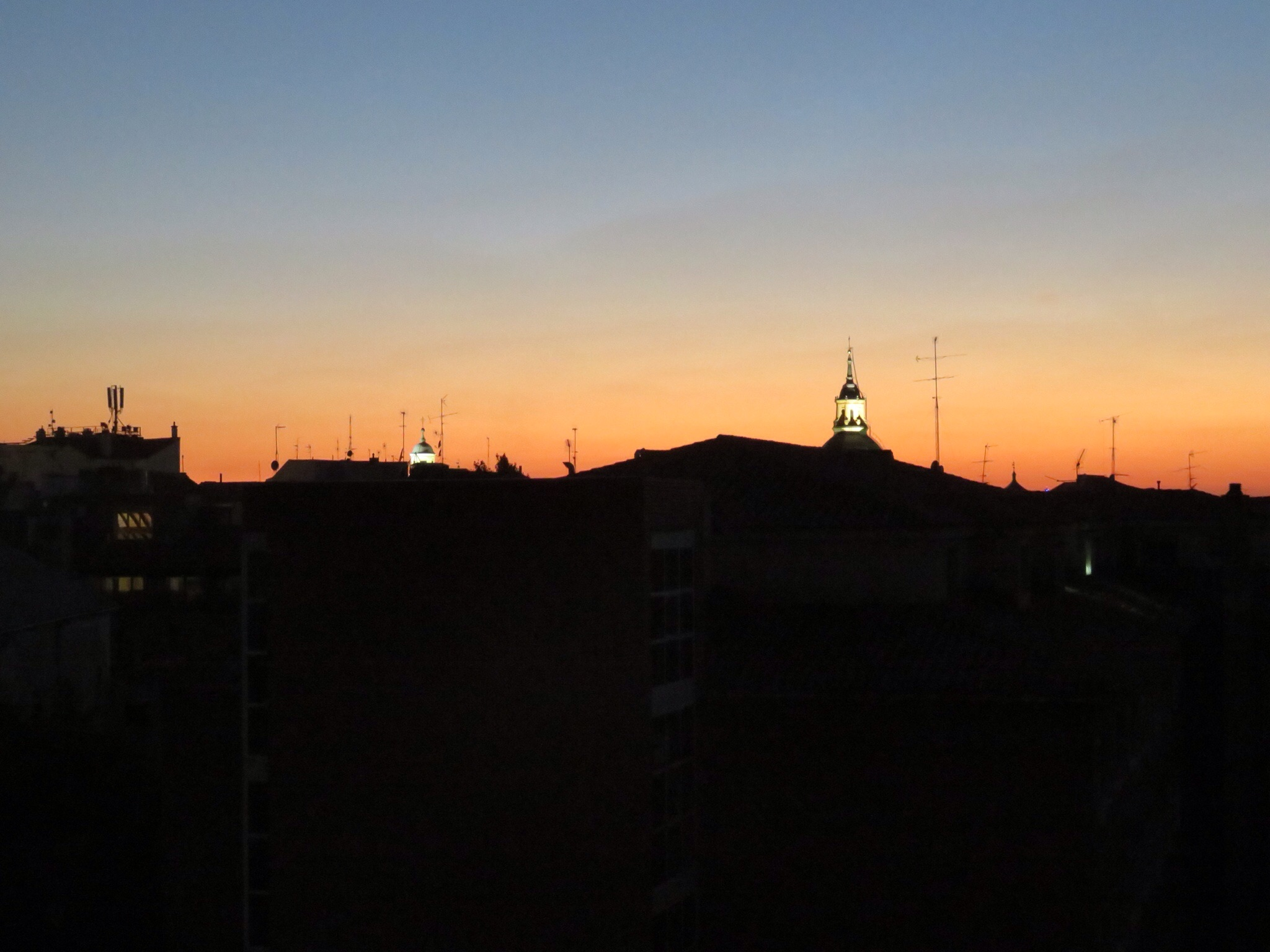 Sunset from the apartment balcony - Madrid skyline.