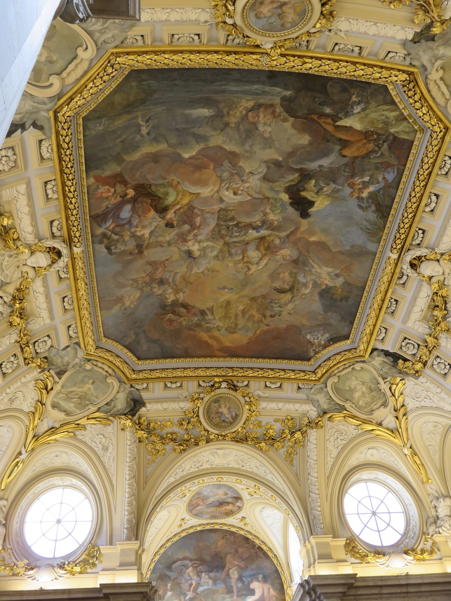 Last area where photographs were allowed - ceiling frescoe of the Spanish King surrounded by female virtues