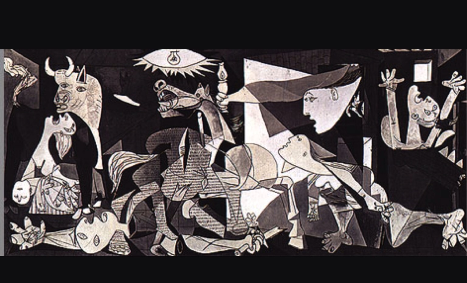 "The visit was especially to see this historical large mural, ""Guernica"", by Picasso.   In 1937, a northern Basque Spanish town  - Guernica - was the site approved by the Spanish dictator, Franco, for Hitler's Air Force to test the world's first saturation bombing raid on civilians.  Picasso was in Paris when he received news of the bombing and immediately went to work sketching and painting what he imagined the destruction to be.  In a few weeks he put together the 286 square foot mural.  On the left a woman holds her dead baby with her head raised in anguish, the bull represents Spain - usually strong but looking powerless - a man fallen from his horse with arm severed and sword broken, the horse screams, a woman drags herself along with wounded leg, a woman looks from a window trying to understand what is going on, another woman looks up to the horror of the skies.      The exhibition of the painting brought world attention to Spain's fascist rule and the destruction of modern war technology - Picasso vowed not to return to Spain while Franco ruled but Franco outlived him."