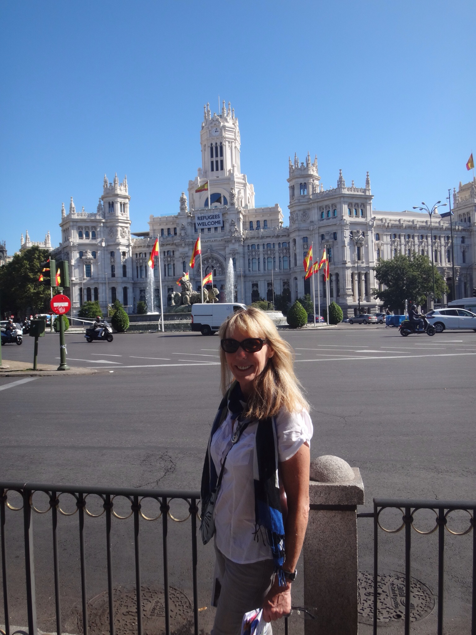 Madrid City Hall .. 'Refugees Welcome' banner hanging on the front