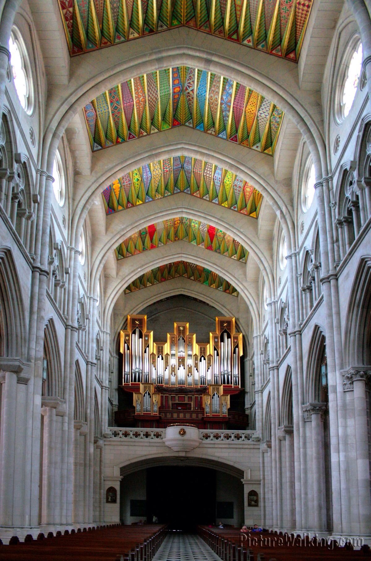 5,000 pipe organ - bright and colorful ceiling, unusual as it didn't have religious images.