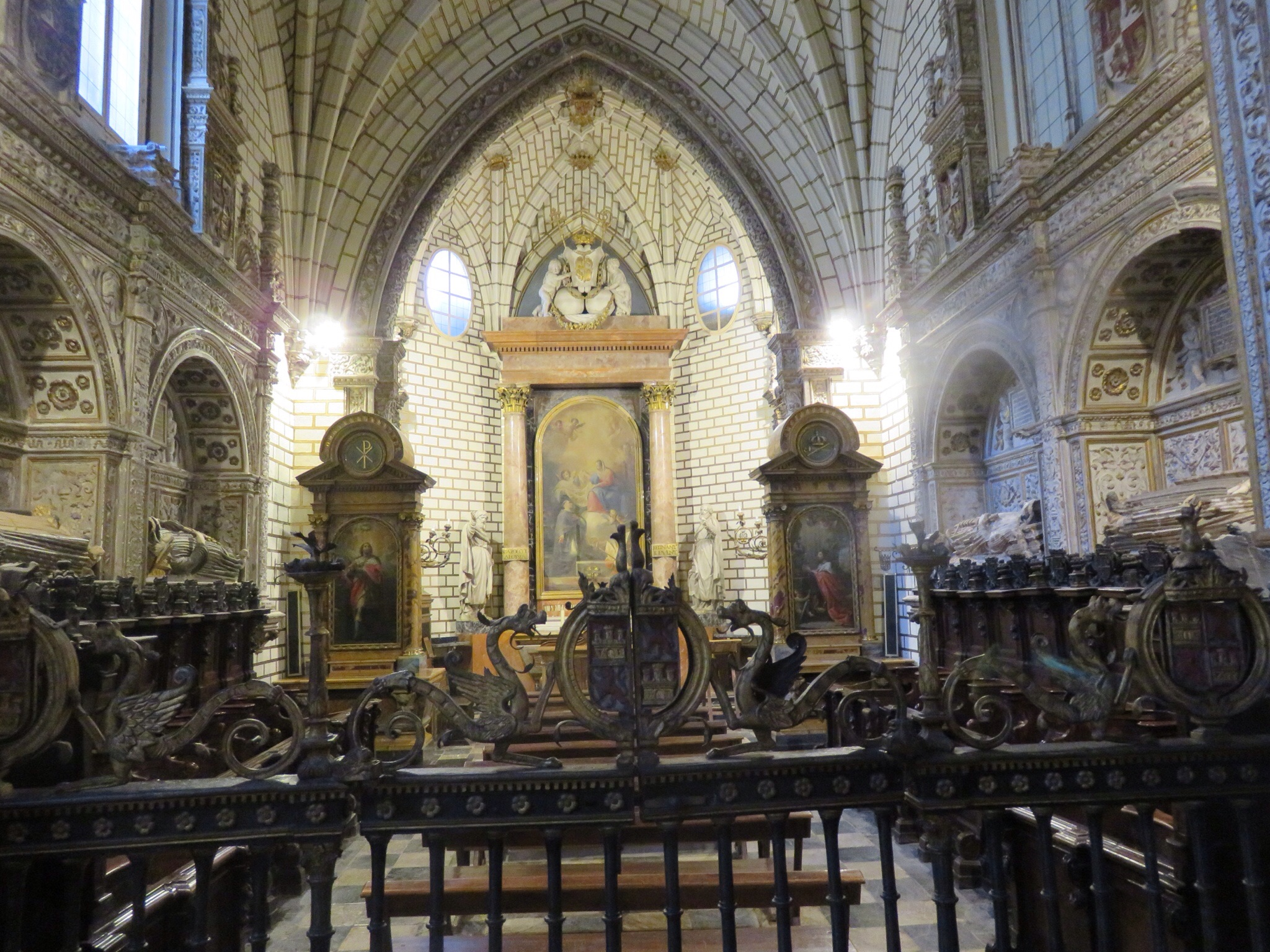 The choir, all of the wooden seats carved with individual scenes