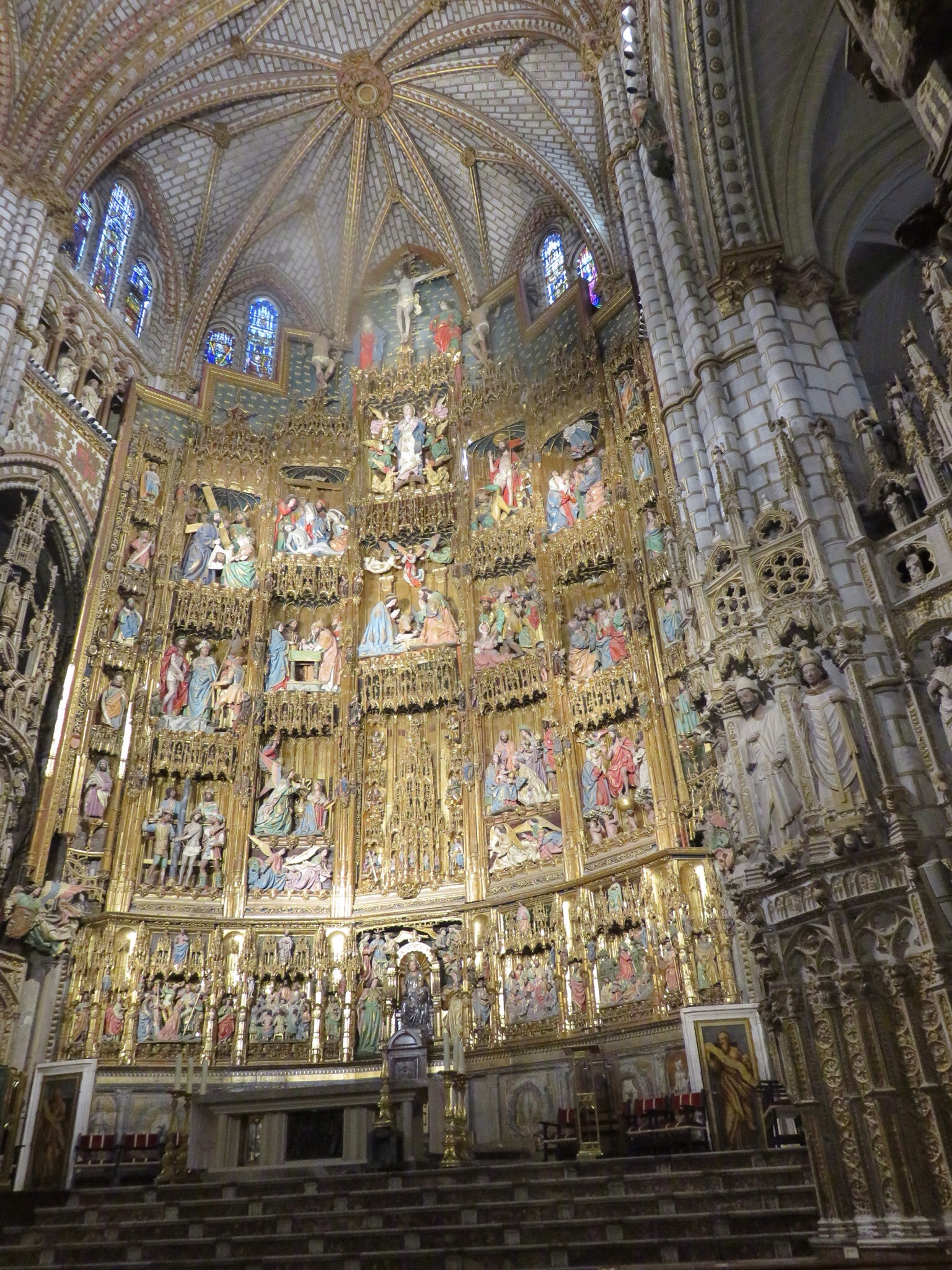 The High Altar, gold on wood depicting scenes from the life of Christ.