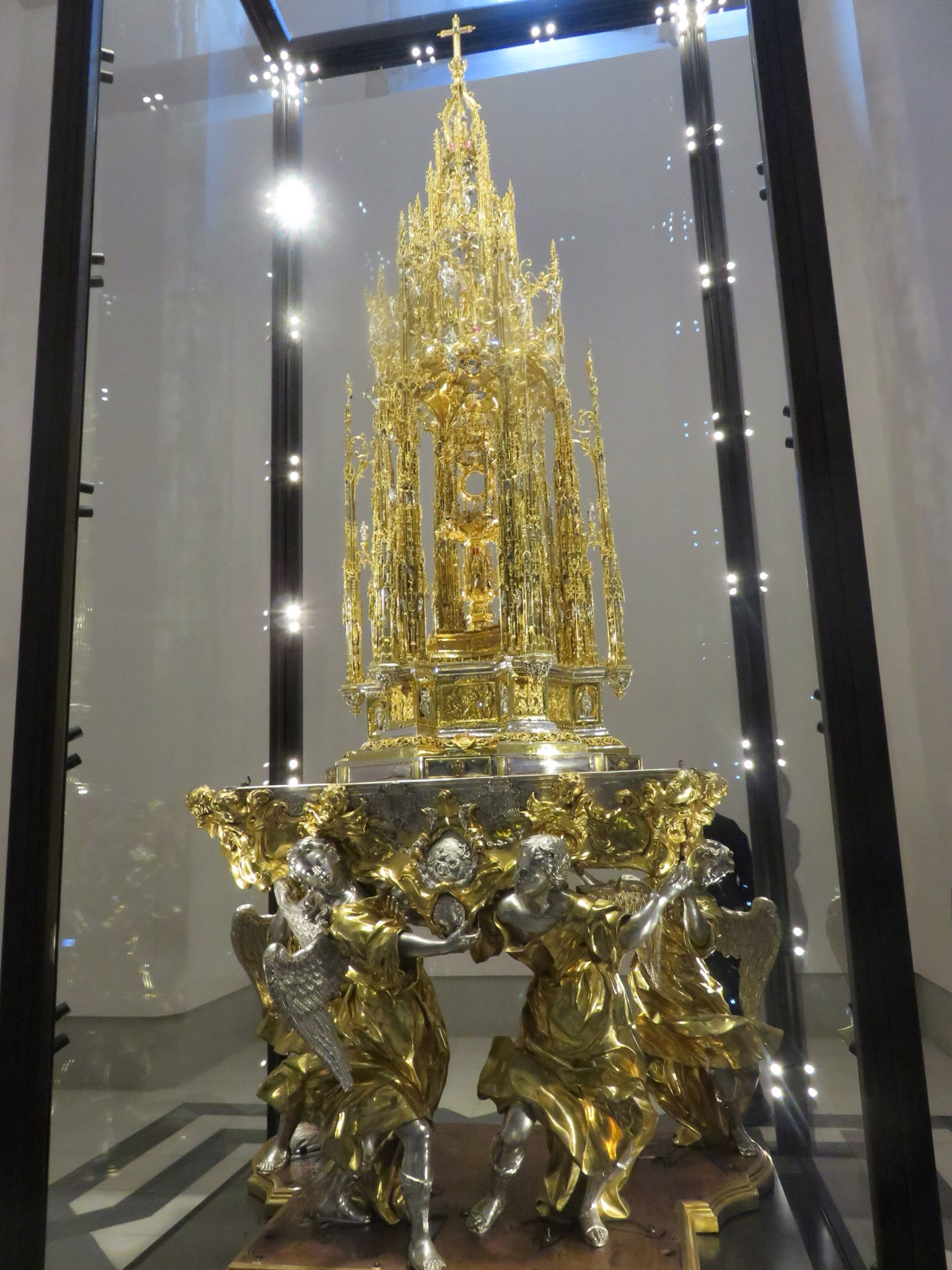One of the objects from the Treasury - 10 feet high and over 400 pounds of gold plated silver with diamonds, emeralds and rubies, the piece on top 35 pounds of solid gold, built in 1517.