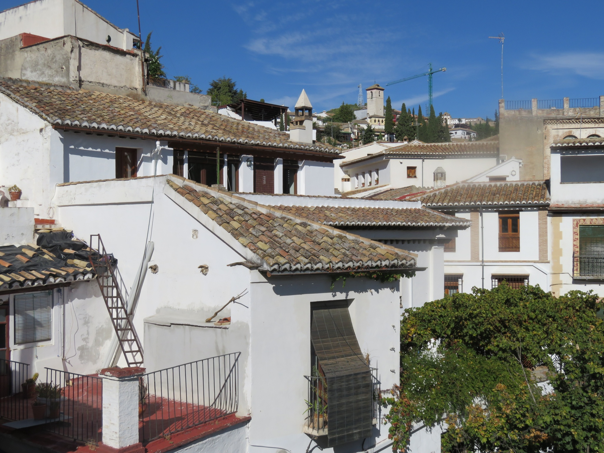 Rooftops of the Moorish District - the Albayzin - dating back prior to the Reconquista of 1492.  There are 20 churches in the distract, each one built on the site of a former mosque after the Reconquista/Inquisition.