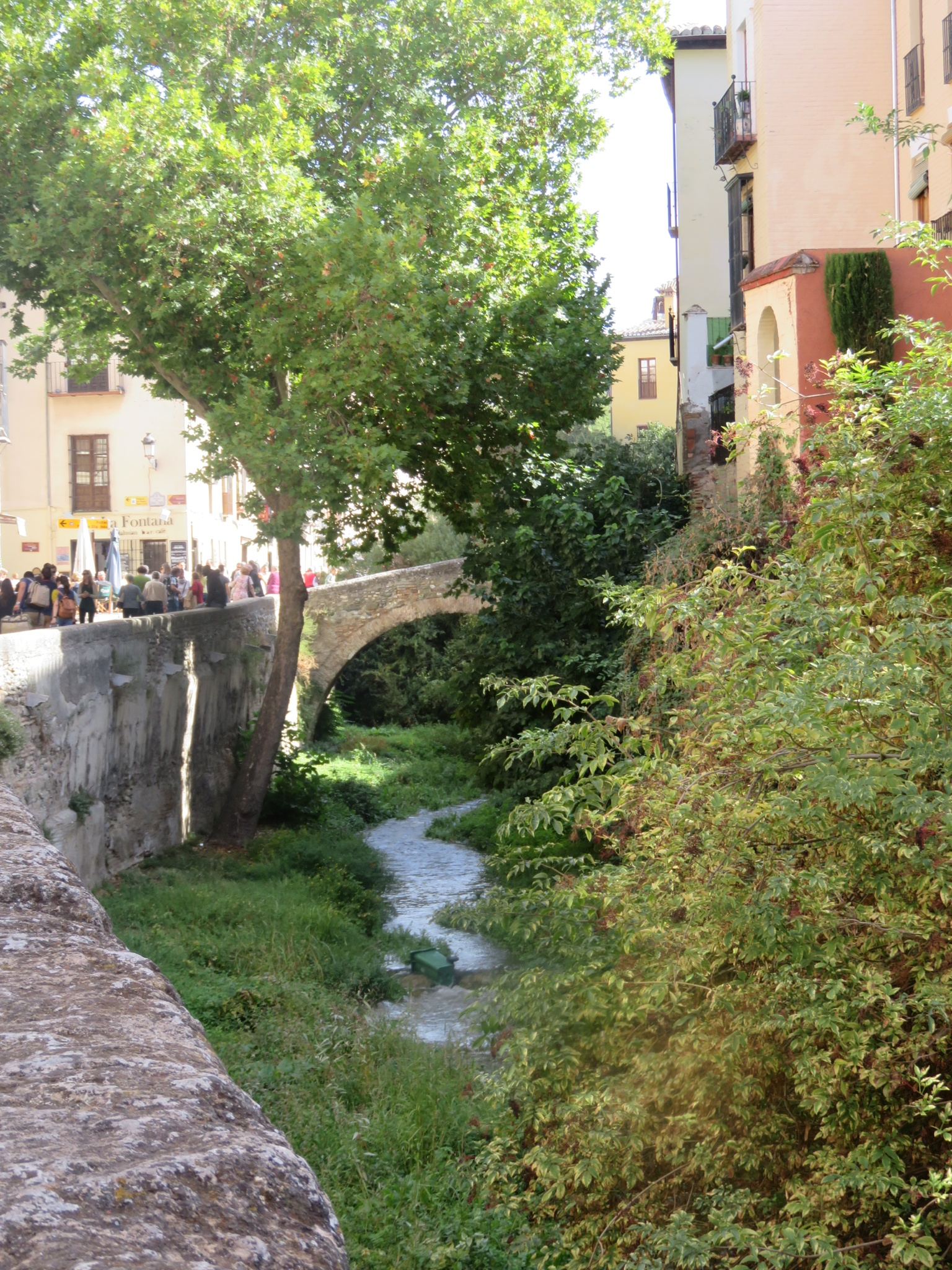 End of summer trickle of the Darro River, runs between the Moorish Quarter and the Alhambra