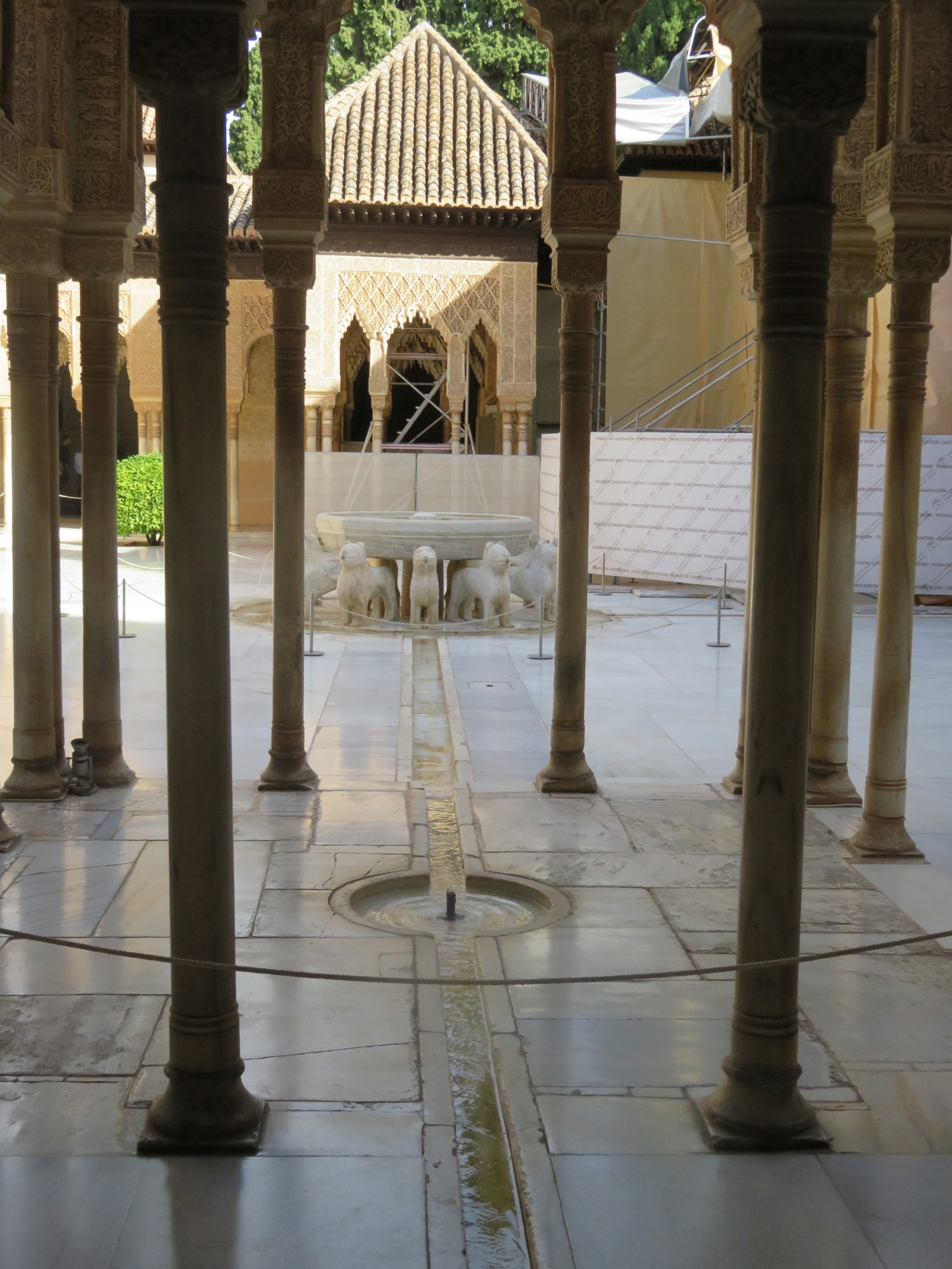 Courtyard of the Lions - Moorish marble fountain from the 1300's that the conuerying Christians took apar to figure out how it worked -- was not functioning again until 2012.  There are 124 columns in the courtyard that have lead fittings to allow the building to 'flex' during earthquakes