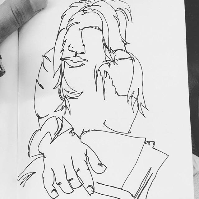 """Bookworm"" . . . . . #blindcontour #blindcontourdrawing #drawing #portrait #blackandwhite #contourdrawing #mtrain #brooklyn #nyc #subwayart #peopleonthetrain #subwayillustrations #subwaysketch #subwaysketching #penandink #blackmarker #nocolor #bookworm #readingonthetrain"