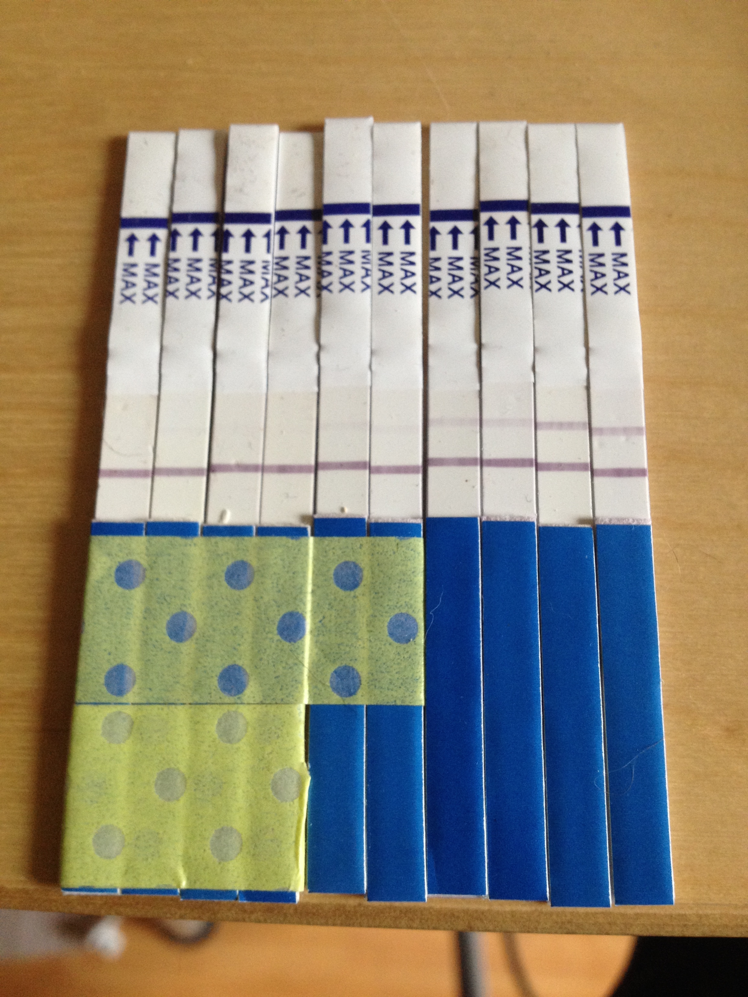 Because I knew my cycle well enough, I actually had done my first pregnancy test about 10 days after I ovulated. There was a faint line (which is hard to see here now) that I discounted as a mistake (naively). Then it showed up the next day and the day after. I finally googled and found out there are not false positives... OF COURSE!! Over the next few days the line got darker and darker until it peaked on day 26 the day of my expected menstruation. I went to the walk-in clinic that day and sure enough, I was pregnant. :)