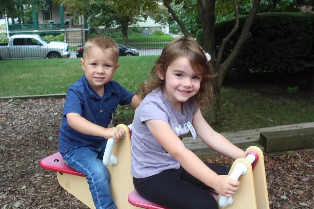 Bennett & Helen enjoying the playground.