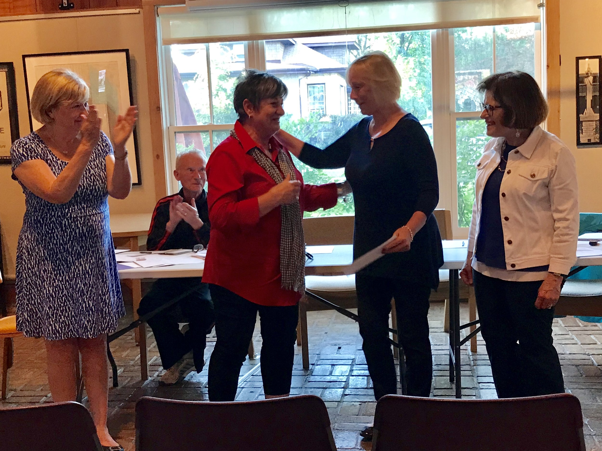 June 5, 2018: Park Ridge Civic Orchestra receiving donation check from the 20th Century Club of Park Ridge.